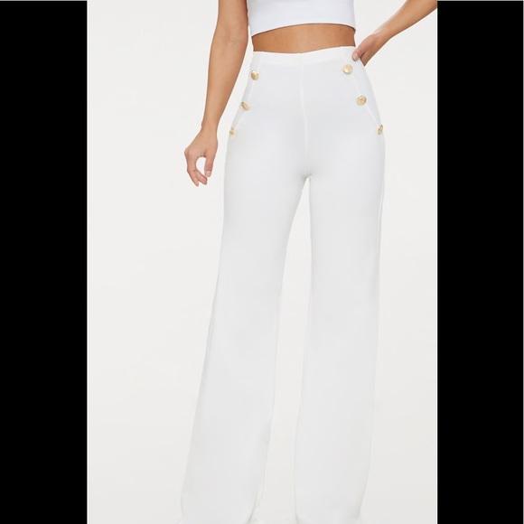 0e8767f1e28a White Military Button High Waist Wide Leg Pants
